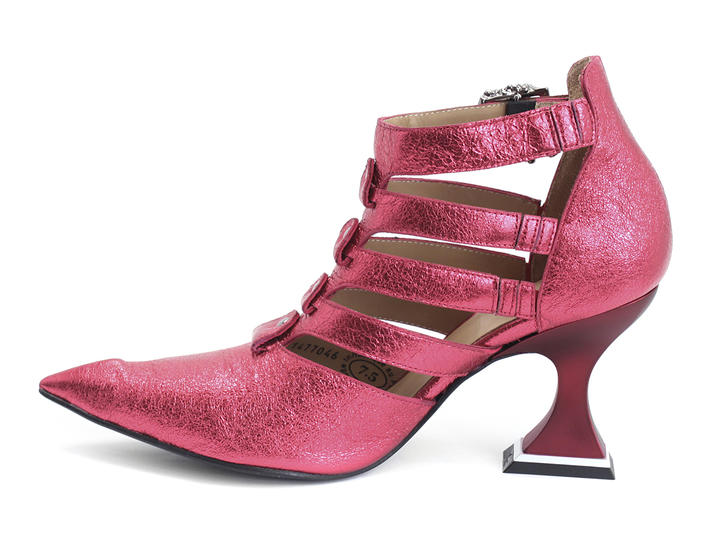 Ros Pink Strappy shoe with skulls