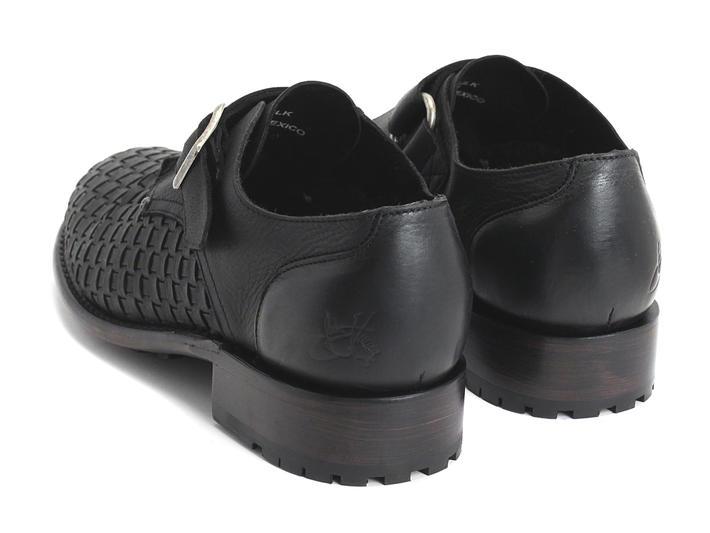 Ayn Black Woven Flat buckled shoe