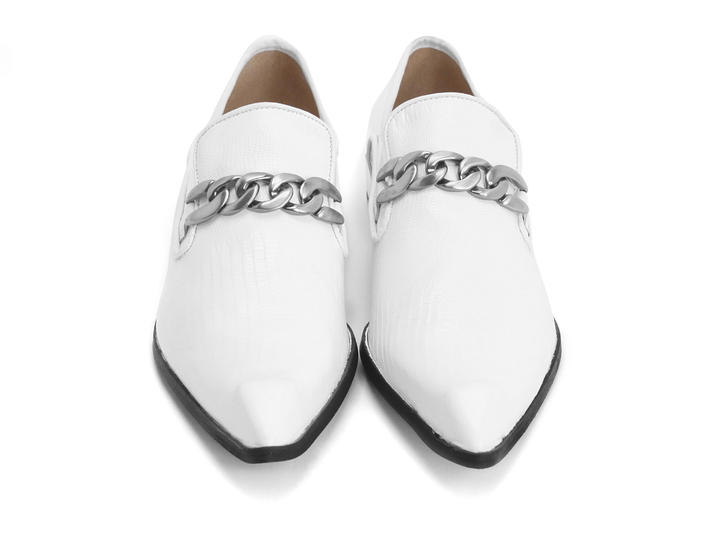 Martel White Loafer with chain