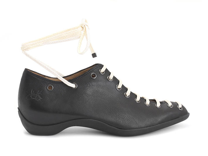 Engaging Black Braided lace-up shoe
