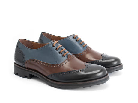 Andrew Blue/Brown Wingtip Brogue Shoe