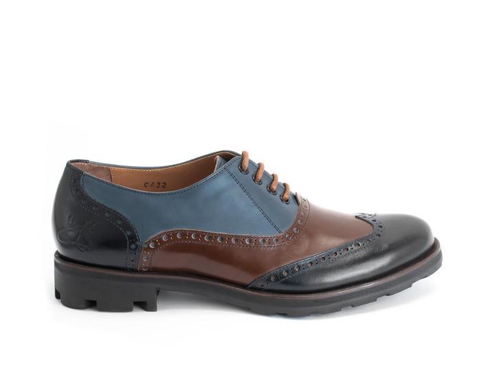 Andrew Blue/Brown Wingtip Brogue Shoe