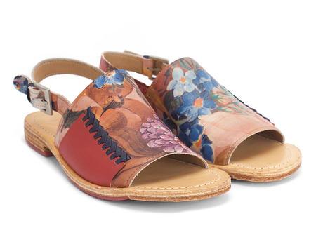 Tigris Floral Sandale plate à bride arrière