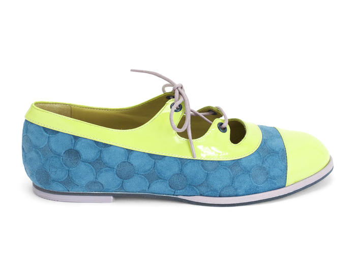 Jacquie Blue/Green Embossed lace-up flat