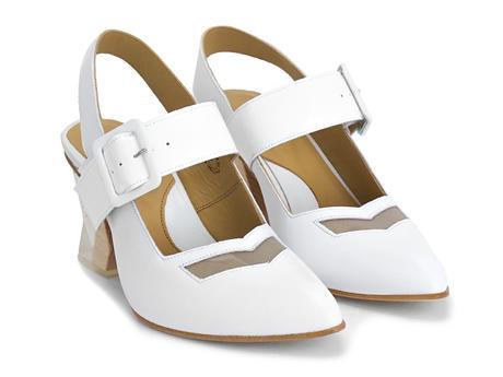 Bolt White Geometric slingback heel