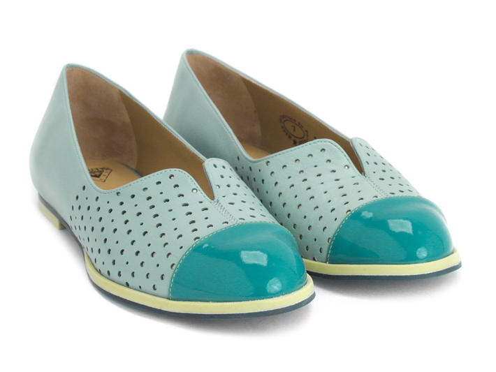 Sue Light Blue Flat with patent toe cap