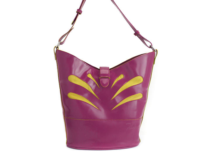 The Gerda Pink/Yellow Tote with teardrop cutouts