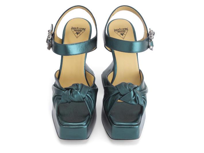 Deee Teal Knotted platform sandal