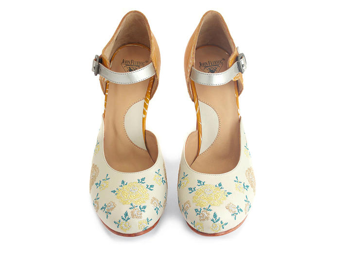 Flora Floral Platform heels with embroidery