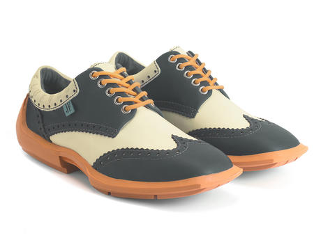 Charles Black/Orange Contrast Leather Wingtip