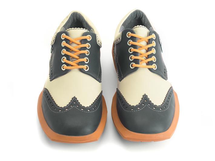 Charles Black/Orange Contrast Leather Wingtip