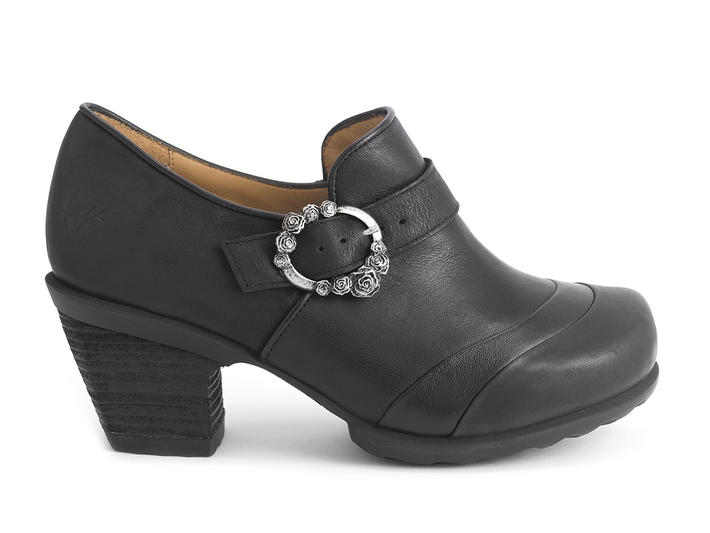 Faith Black Rose buckled shoe