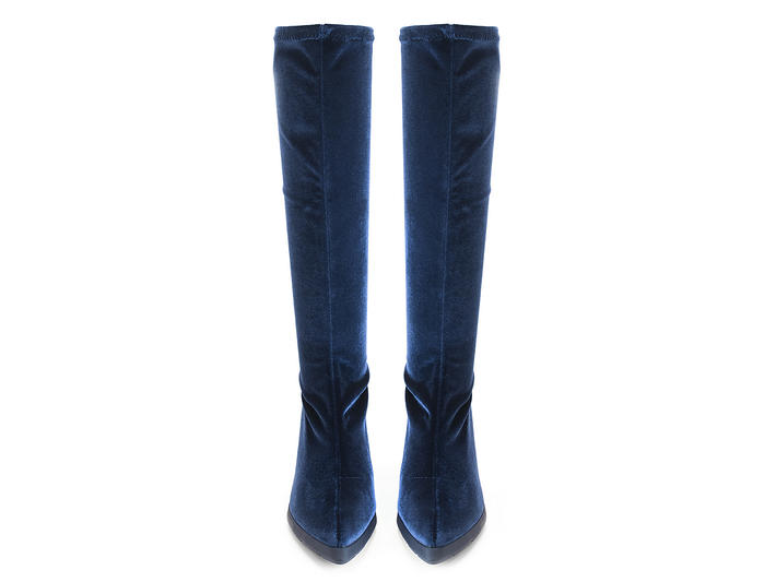Chatterbox Blue Velvet knee-high boot