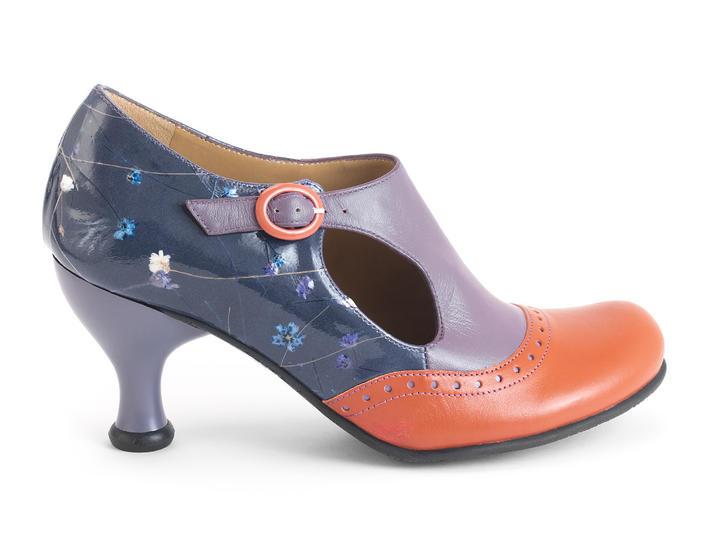 Ella Baker Floral/Purple Brogued Heel with Cutout