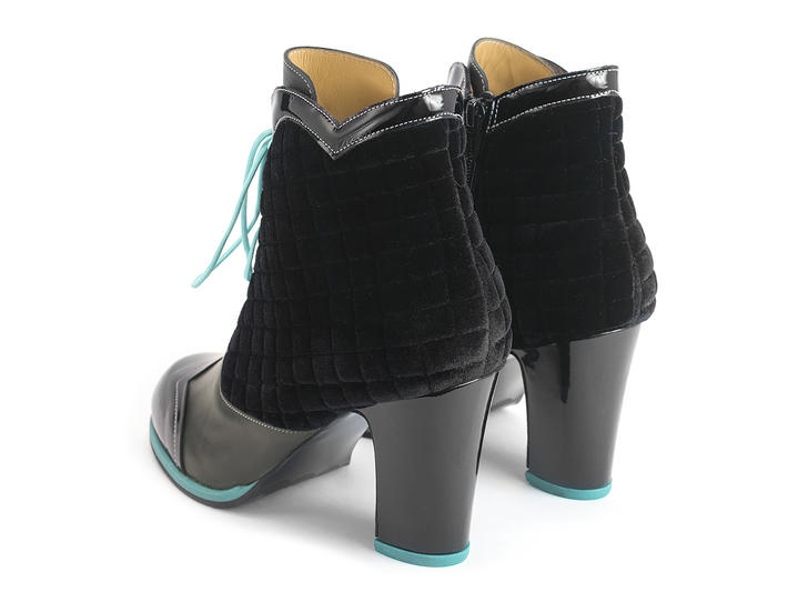 Carmen Black Scalloped lace-up ankle boot