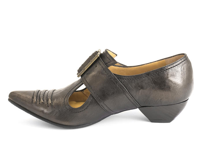 Pilgrim Chocolate Buckled Victorian loafer