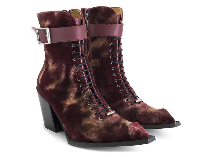 Cubist Cupcake Red velvet Lace-up ankle boot with buckle