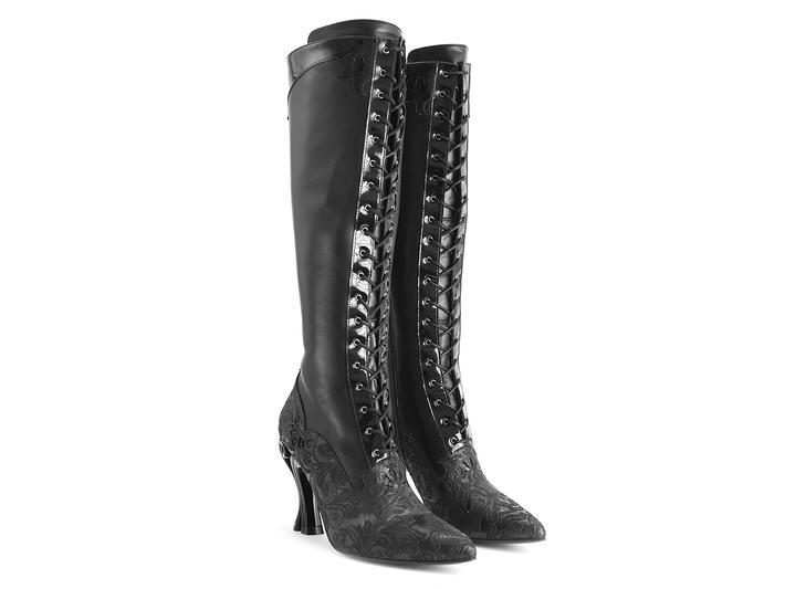 5584bf6502 Fluevog Shoes   Shop   Atria (Black)   Knee-high lace-up boots