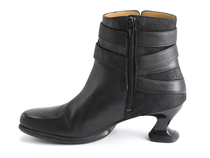 Asante Black Ankle boot with strap detail