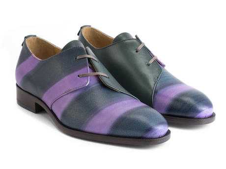 Manhattan: Women's Purple Striped Asymmetrical derby shoe