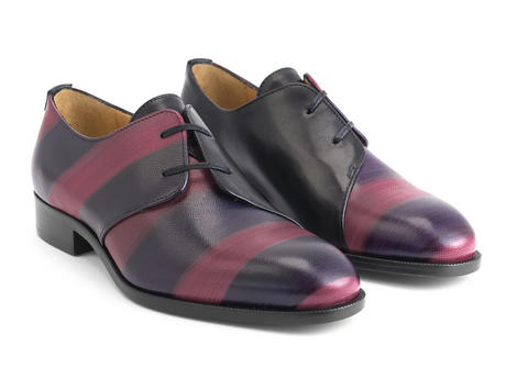 Manhattan: Women's Red Striped Asymmetrical derby shoe