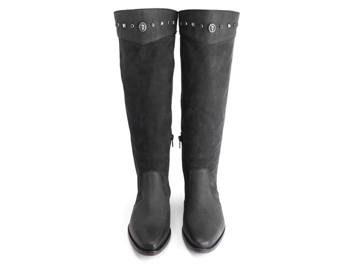 Janis Black Knee-high boot with studs