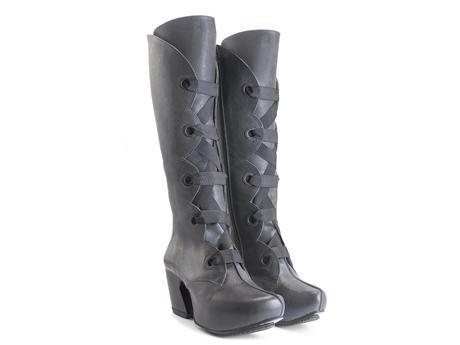 Compass Grey Platform lace-up boots