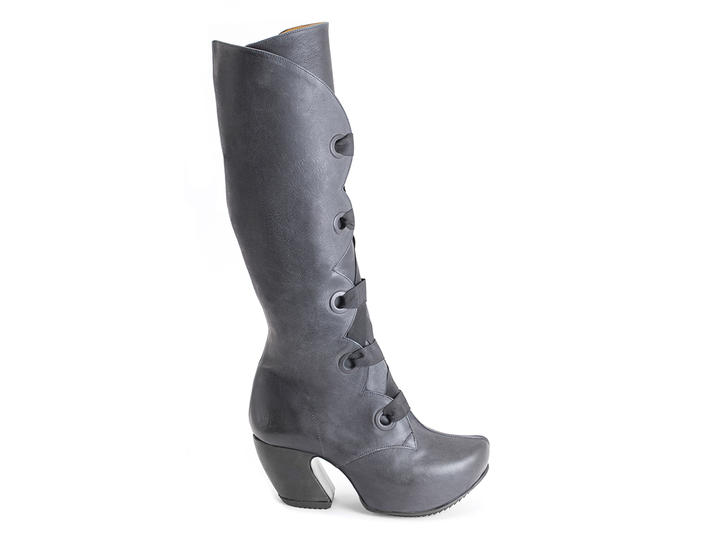 Compass Grey Platform lace-up boots