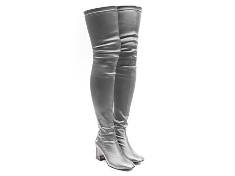 Petula Silver Thigh high boots
