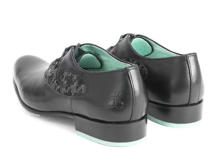 Perception Black Ghillie  lace-up dress shoe