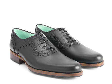 837 Granville Black/Blue Lined Brogued Leather Oxford