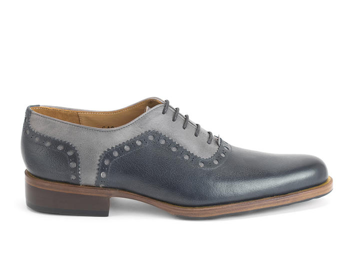 837 Granville Blue/Grey Brogued Leather Oxford