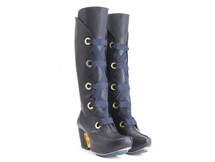 Compass Navy Platform lace-up boots