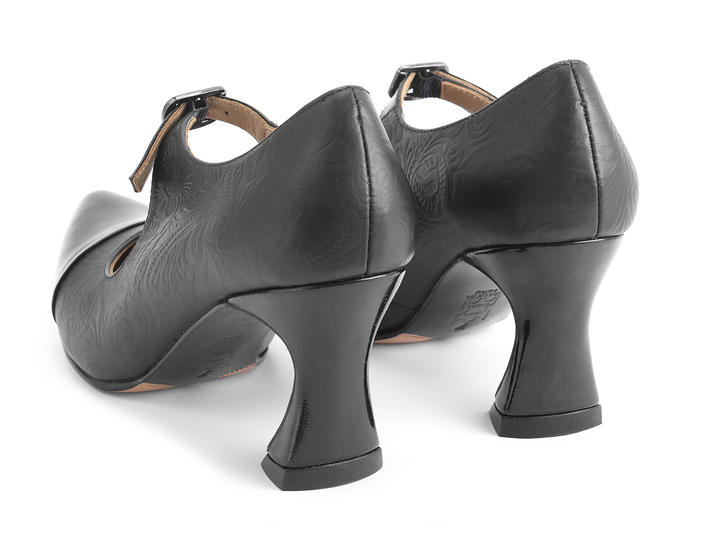 Malala Black/Embossed Patent toed mary jane