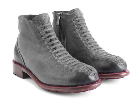 Babette: Women's Grey/Red Ankle boot with faux laces