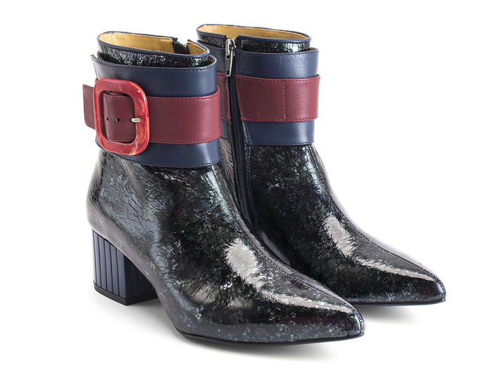 Miranda Sapphire Buckled ankle boot