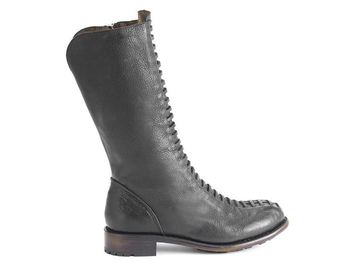 Thatcher Black Boot with faux laces