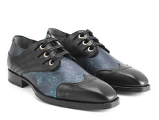 Cavalier Blue/Black Scalloped eyelet derby shoe