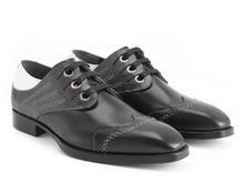 Cavalier Black/White Scalloped eyelet derby shoe