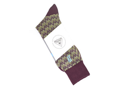 Gus Vog Socks Burgundy Zigzag sock