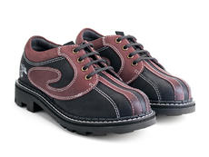 Supervog: Men's Black/Burgundy Classic Lace-up Derby