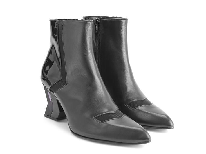 Slash Black Angular ankle boot