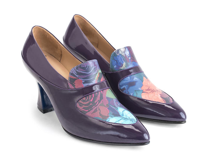 Shirley Purple/Floral Contrast loafer heel