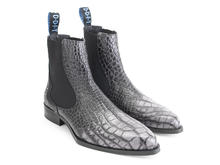Kid: Men's Charcoal Crocodile embossed chelsea boot