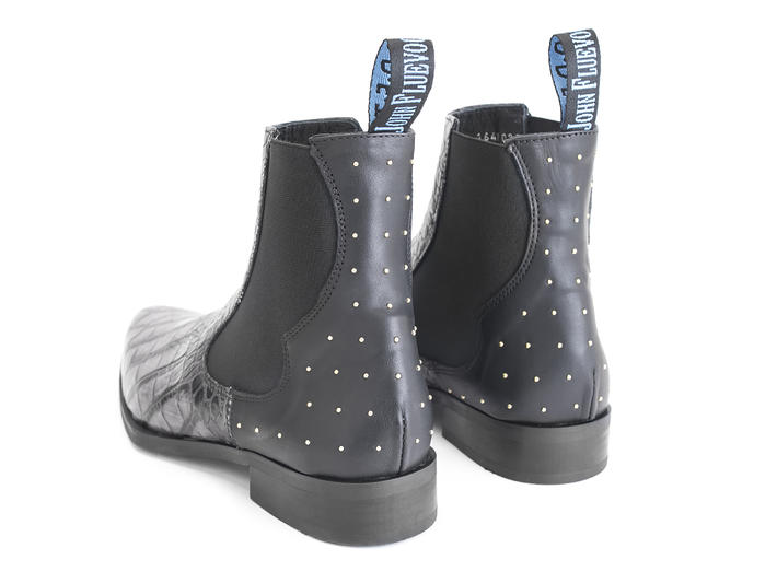 Kid Charcoal Crocodile embossed chelsea boot