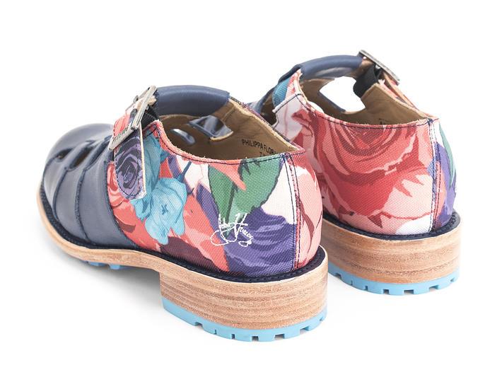 Philippa Bleu\Toile florale Sandale plate style pêcheur