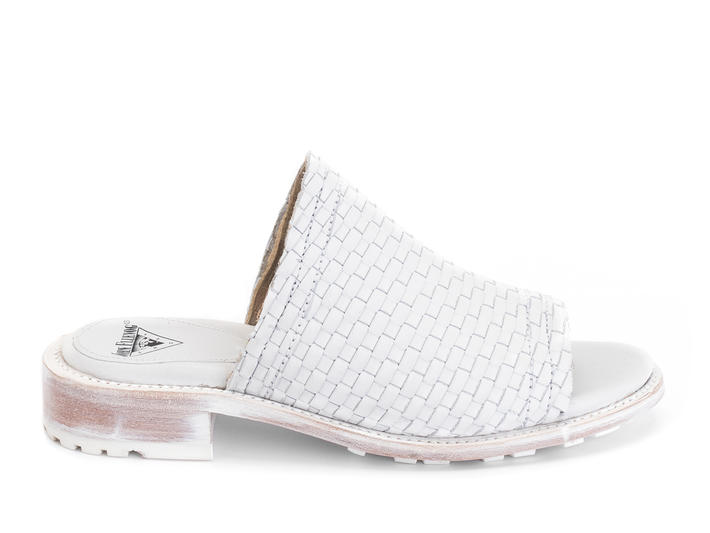 Luce White Woven slide sandal