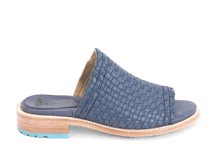 Luce Blue Woven slide sandal