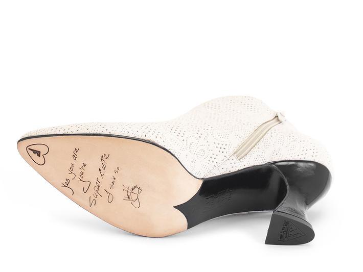 Edie Beige Floral Emboss Sexy asymmetric heel