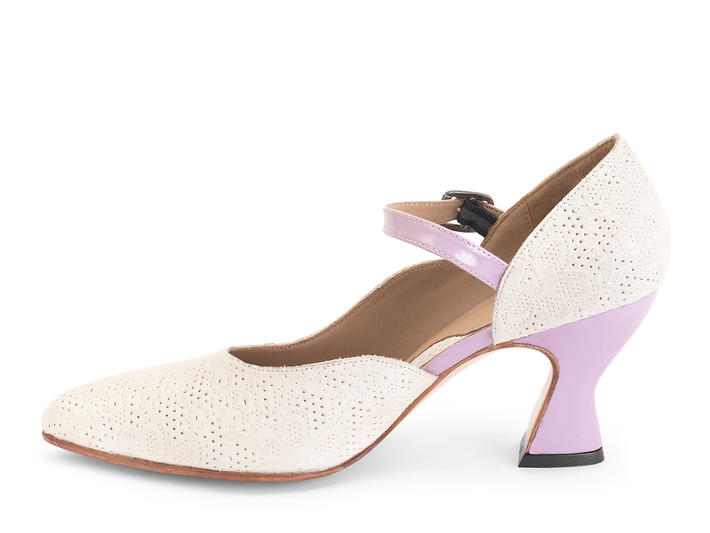 Lily-Rose Beige/Lilac D'orsay mary jane heel